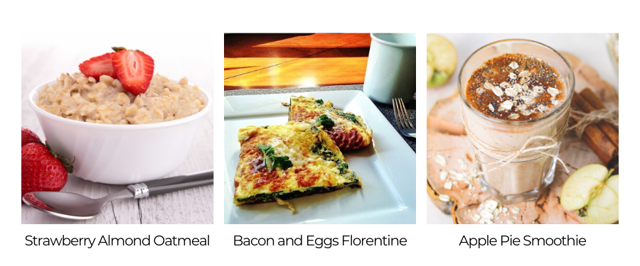 Breakfast options include recipes like Strawberry Almond Oatmeal, Bacon and Eggs Florentine, and Apple Pie Smoothie.