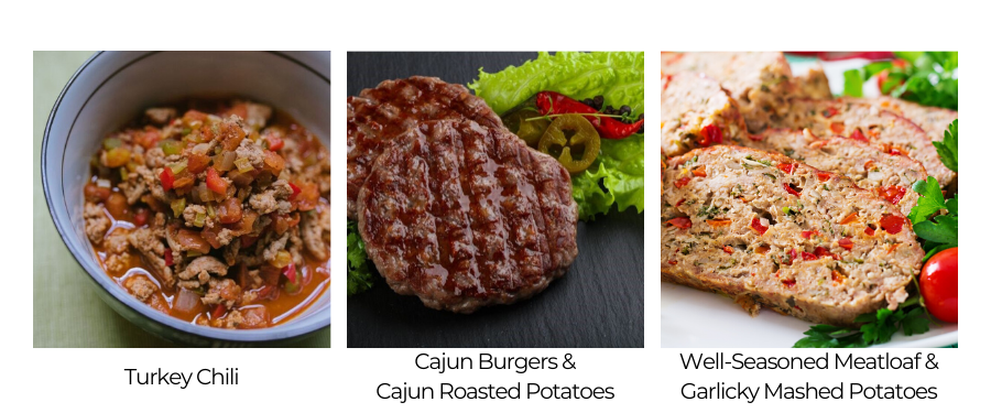 Dinner and lunch options include recipes like Turkey Chili, Cajun Burgers & Cajun Roasted Potatoes, and Well-Seasoned Meatloaf & Garlicky Mashed Potatoes